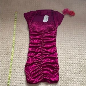 Brand new dark pink evening gown with sleeves
